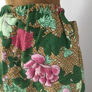 VINTAGE QUILTED FLORAL MAXI SKIRT